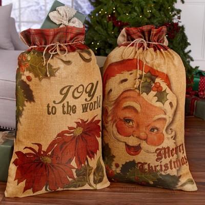 Lakeside Large Christmas Gift Sacks with Drawstring - Set of 2 - Santa