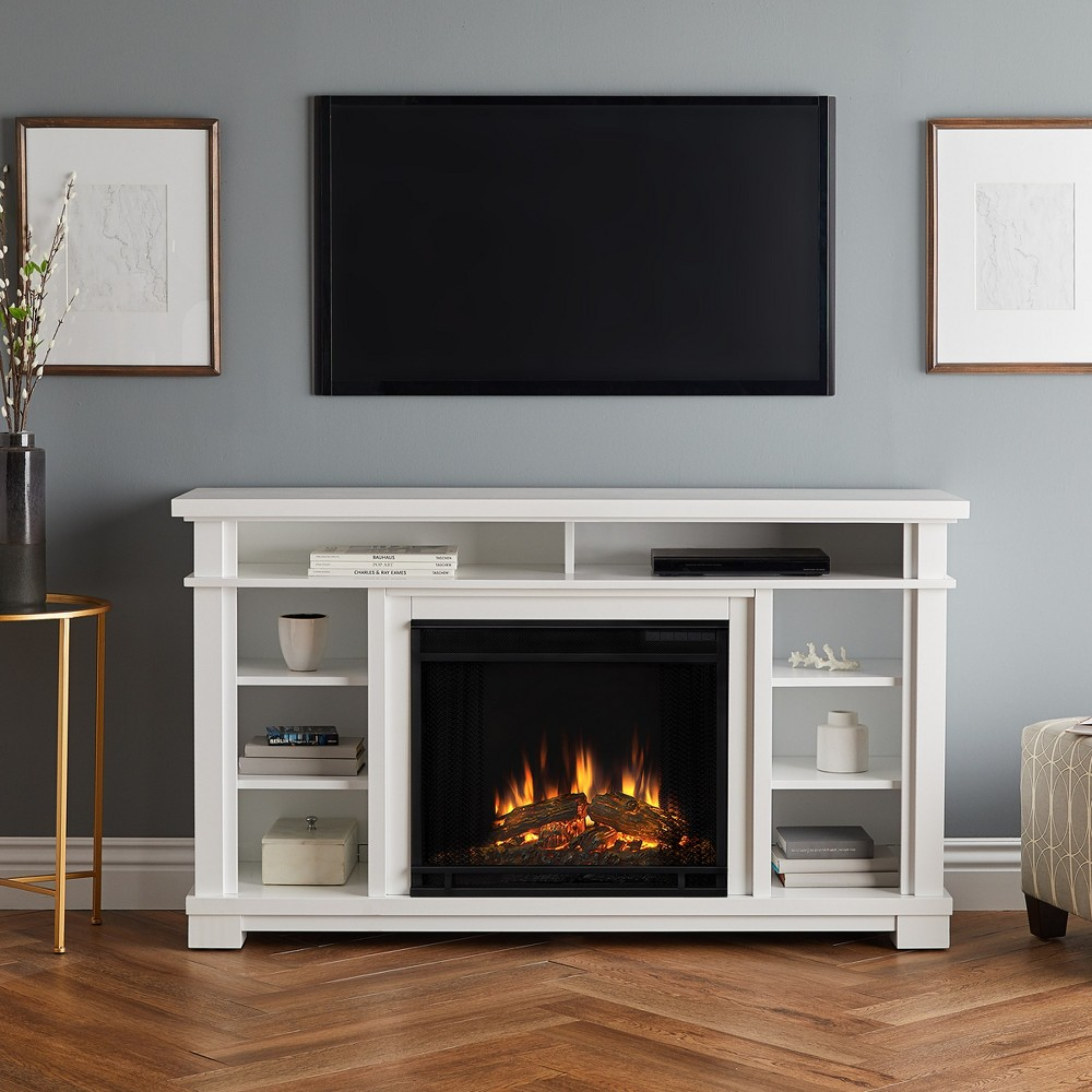 "Image of ""56"""" Belford Electric Fireplace Entertainment Center White - Real Flame"""