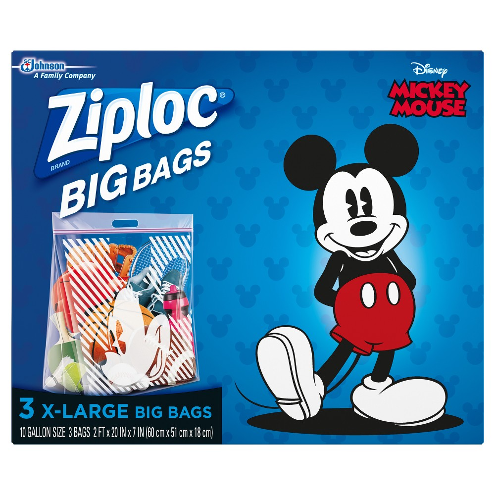 Ziploc Stars & Stripes Big Bags XL - 4ct, Black These Disney Mickey Mouse Extra-Large Big Bags from Ziploc are a convenient storage solution you'll love. No more clutter in the garage, basement or closet — these extra-large plastic bags provide enough space to store clothing, bedding, holiday decorations, sports equipment and more. The clear bags are easy to see through, letting you quickly find what you need, and feature the Ziploc zippers you know and love to keep your things secure. Each bag also has a handle for convenient carrying. Color: Black.