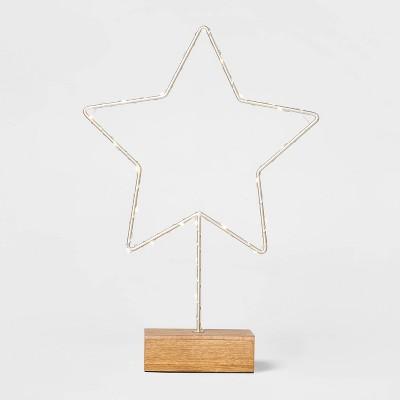 Lit Standing Silver & Brown Dew Drop Star Decorative Figurine - Wondershop™