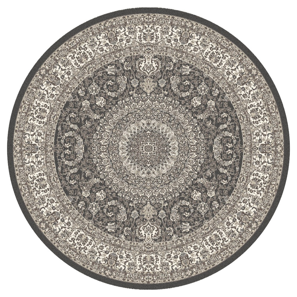 Gray Classic Woven Round Area Rug - (5') - Art Carpet