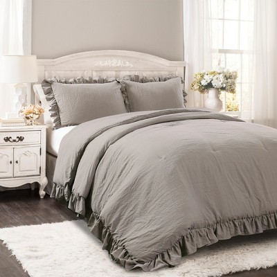 Gray Reyna Comforter Set (Full/Queen)- Lush Decor