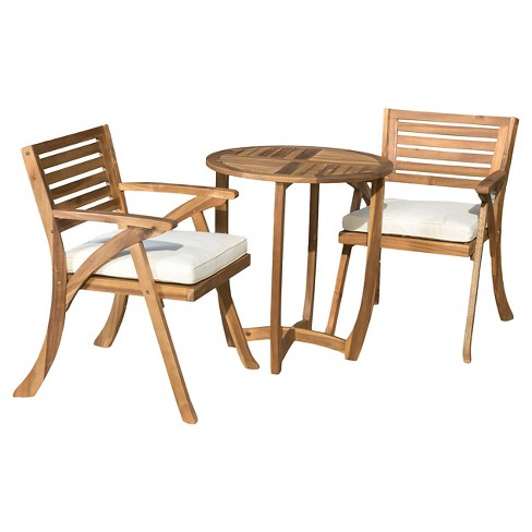 Coronado 3pc Acacia Wood Patio Bistro Set with Cushions - Teak Finish - Christopher Knight Home - image 1 of 4