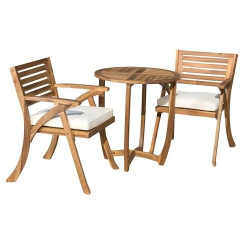 Coronado 3pc Acacia Wood Patio Bistro Set With Cushions - Teak Finish -  Christopher Knight Home : Target - Coronado 3pc Acacia Wood Patio Bistro Set With Cushions - Teak