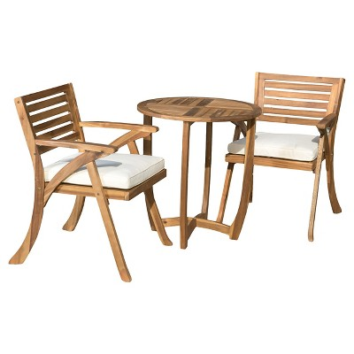 Coronado 3pc Acacia Wood Patio Bistro Set With Cushions   Teak Finish    Christopher Knight Home