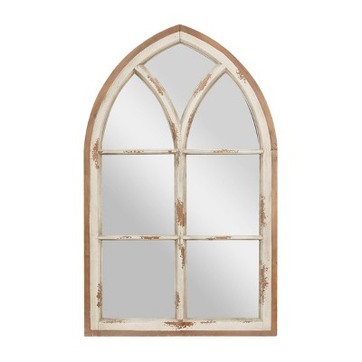 """31.5"""" x 51"""" Large Wood Arched Wall Mirror with Window Frame White - Olivia & May"""