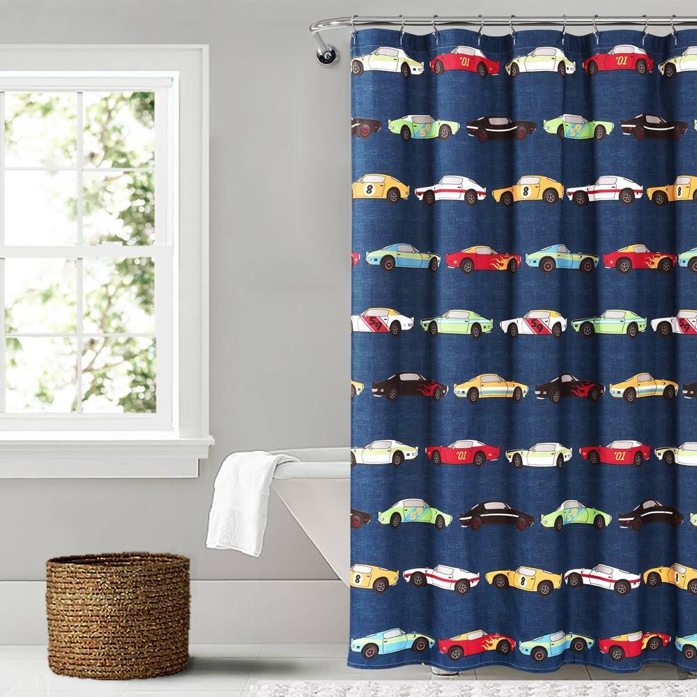 """Image of """"72""""""""x72"""""""" Race Car Shower Curtain Navy - Lush Décor"""""""