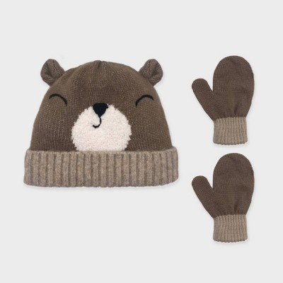Toddler Boys' Knitted Critter Bear Beanie and Basic Magic Mittens Set - Cat & Jack™ Brown 12-24M