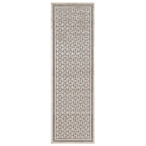 Pewter/Light Gray Geometric Loomed Runner - image 1 of 3