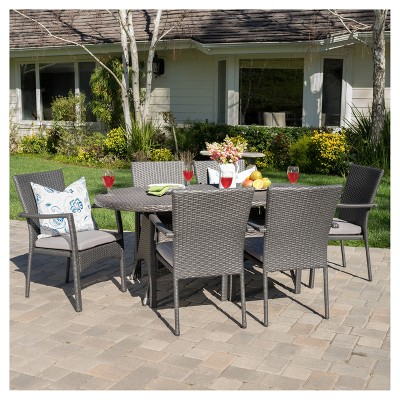 McNeil 7pc Wicker Dining Set with Cushions - Gray - Christopher Knight Home