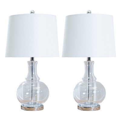 Felicia Set of 2 Clear Glass Table Lamps Clear - Abbyson Living