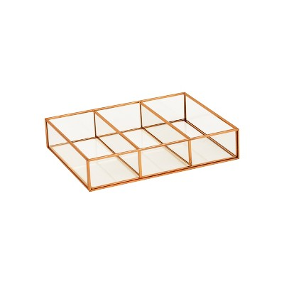 3 Compartment Horizontal Glass & Metal Vanity Organizer Copper Finish 10 X7.5 X2  - Threshold™
