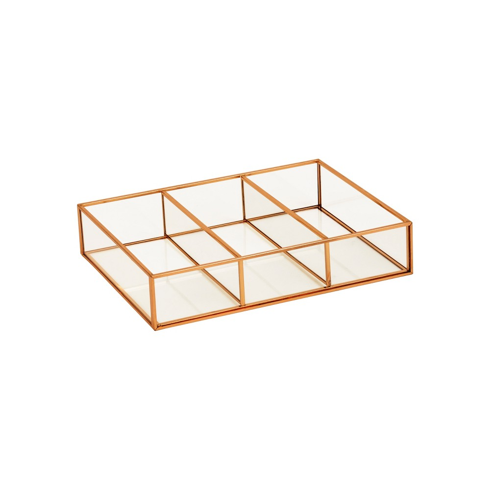 "Image of ""3 Compartment Horizontal Glass & Metal Vanity Organizer Copper Finish 10""""X7.5""""X2"""" - Threshold , Brown"""