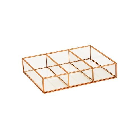 "10""X7.5""X2"" 3 Compartment Horizontal Glass & Metal Vanity Organizer Copper Finish - Threshold™ - image 1 of 1"
