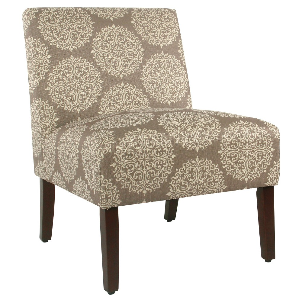 Admirable Carson Armless Accent Chair Brown Medallion Homepop Alphanode Cool Chair Designs And Ideas Alphanodeonline