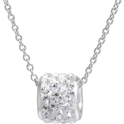 "Women's Silver Plated Crystals Slide Pendant - Clear/Silver (18"")"