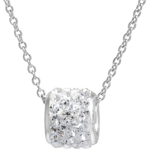 """Women's Silver Plated Crystals Slide Pendant - Clear/Silver (18"""") - image 1 of 2"""