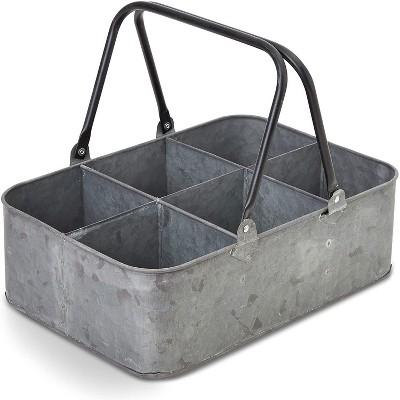 """Shabby Galvanized Metal Kitchen Utensil Holder Flatware Caddy Storage Organizer for Outdoor Party Garden Patio 12'x8'x4"""""""