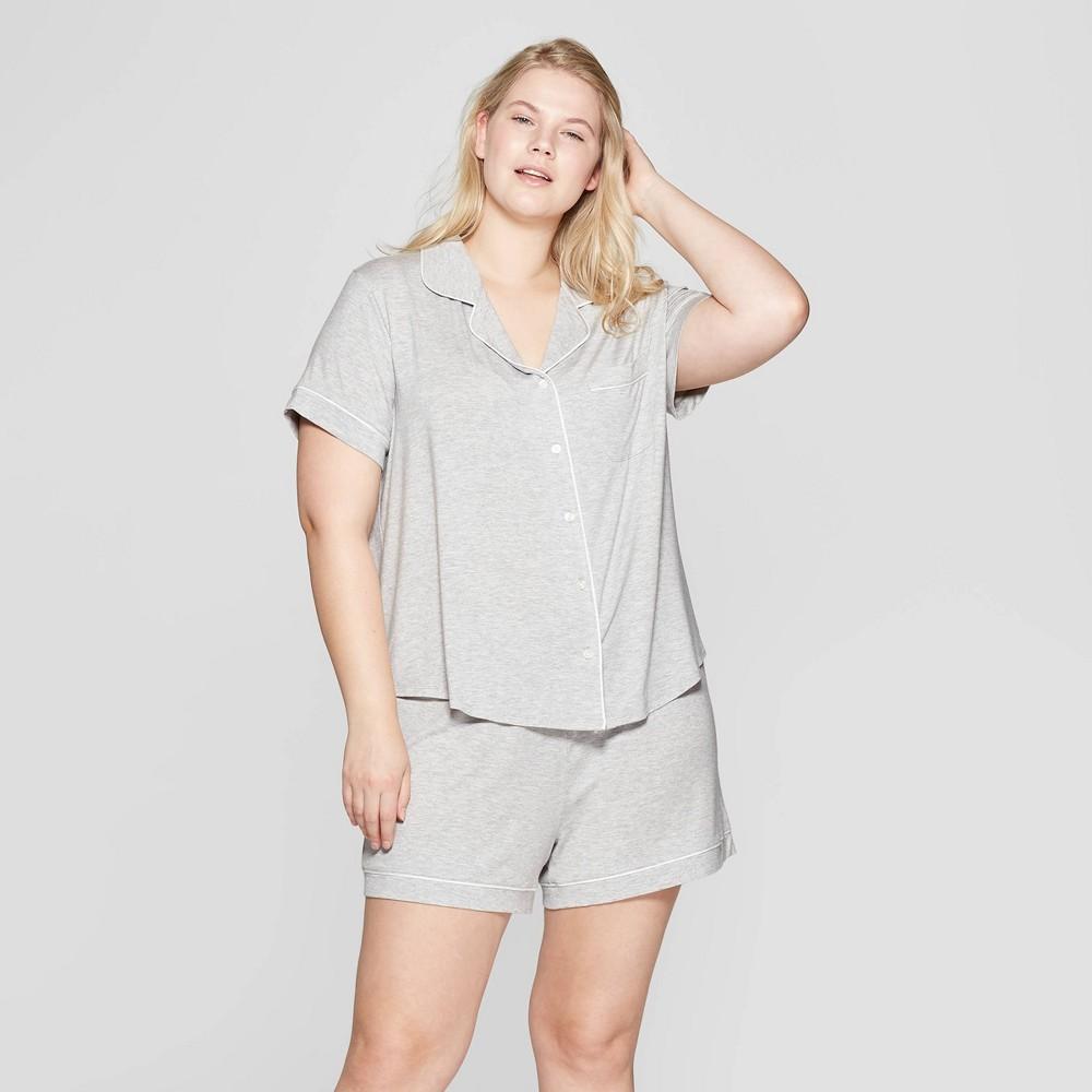 Women's Plus Size Beautifully Soft Notch Collar Pajama Set - Stars Above Gray 2X