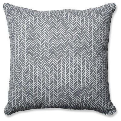 Outdoor/Indoor Herringbone Gray Floor Pillow - Pillow Perfect