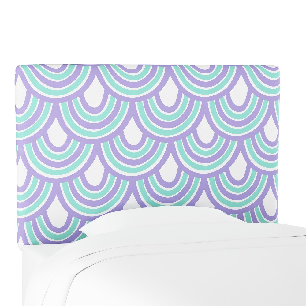Kids Printed Upholstered Headboard Full Purple Seafoam Scallop - Pillowfort
