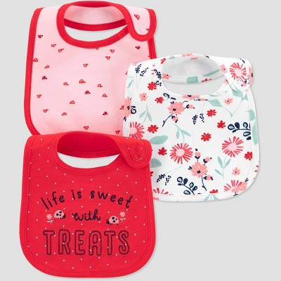 Baby Girls' 3pk Ladybug Bib - Just One You® made by carter's Poppy Pink