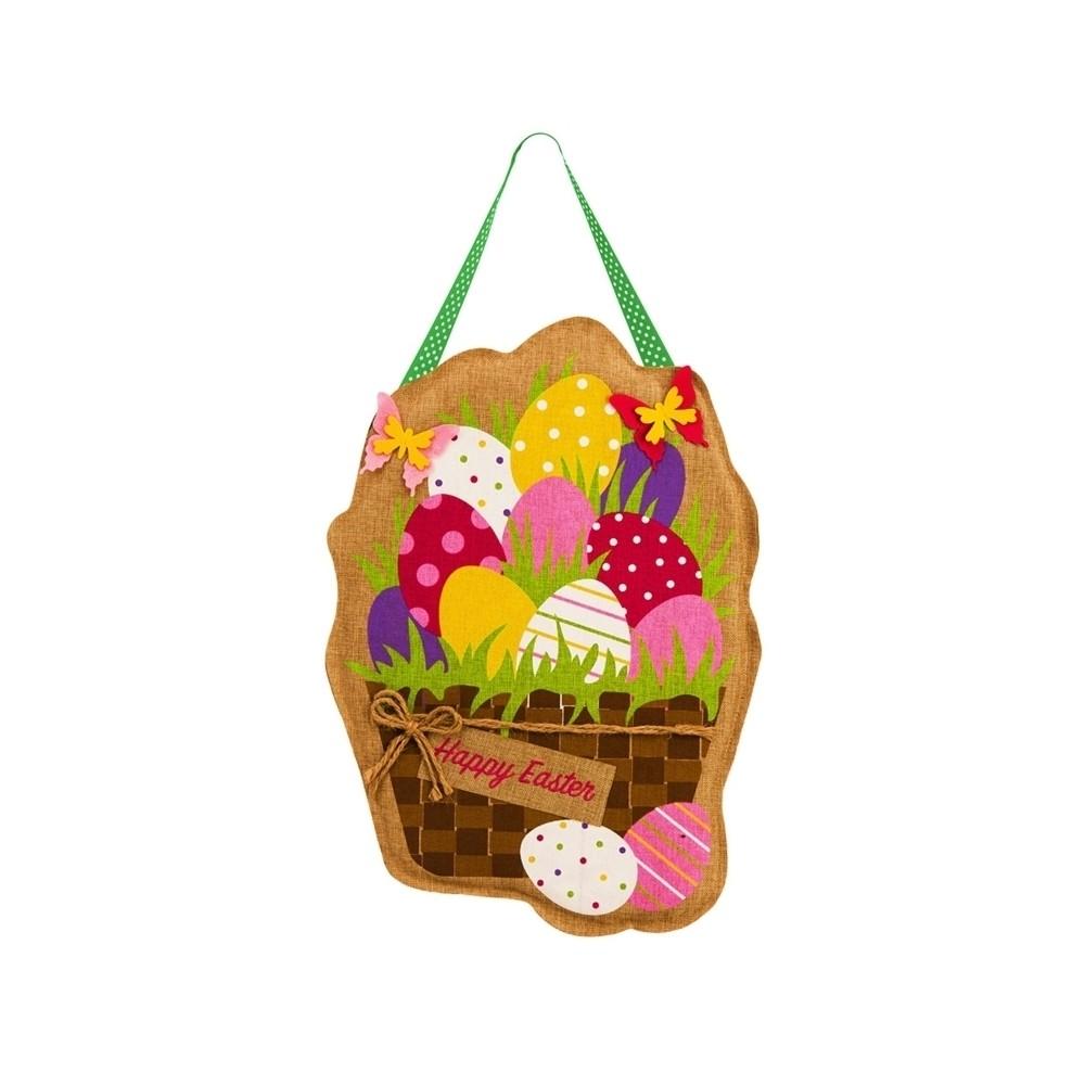 Easter Eggs in Basket Burlap Door Hanger, Multi-Colored