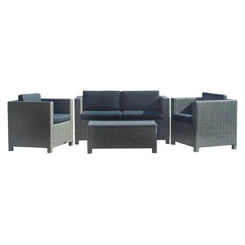 Puerta 4pc Wicker Patio Sofa Set Gray With Black Cushions