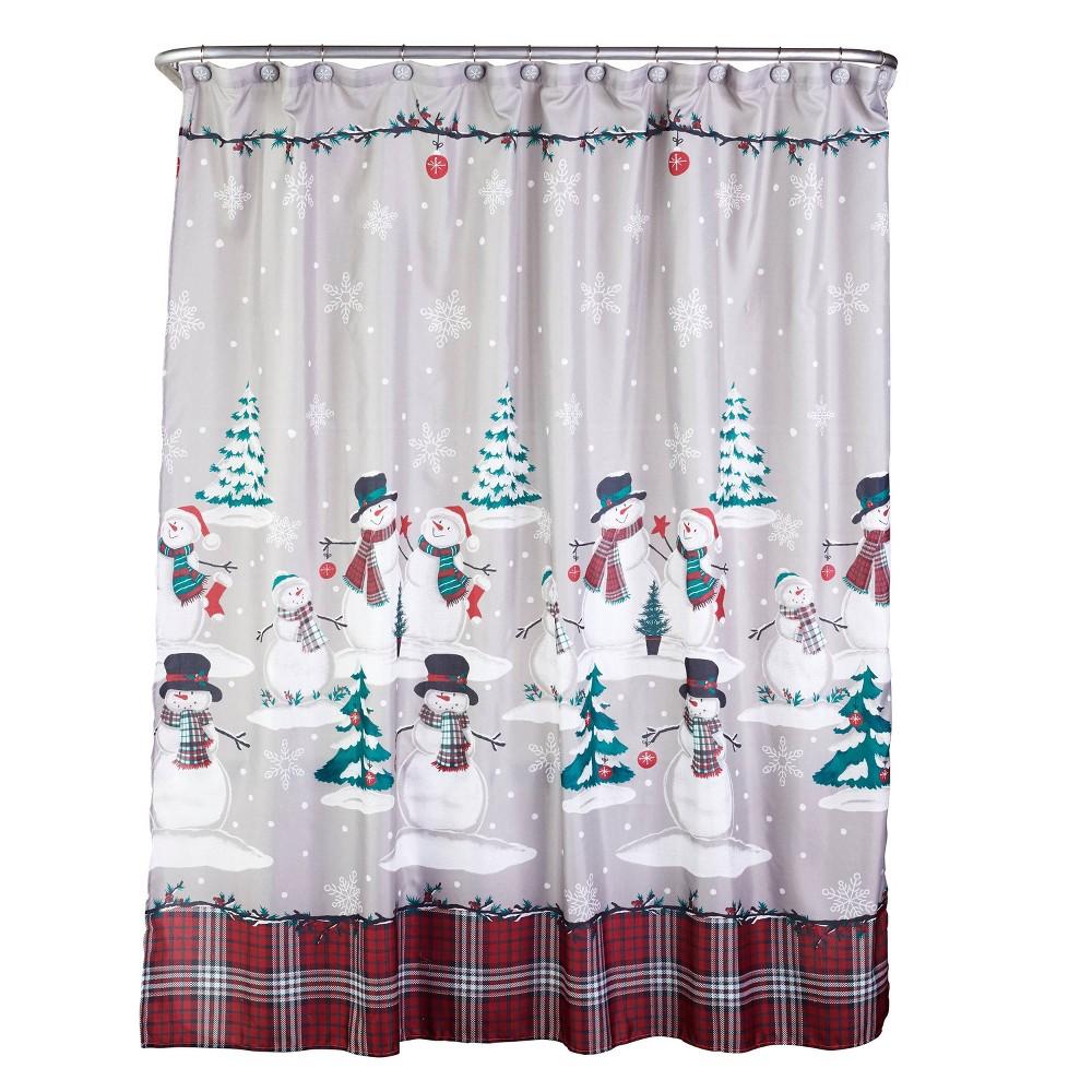 Plaid Snowman Shower Curtain and Hook Set - SKL Home