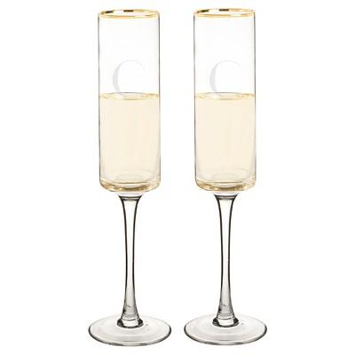 2ct Monogram Gold Rim Champagne Flute - C