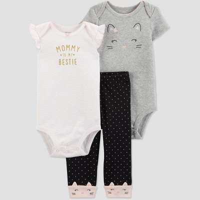 Baby Girls' 3pc Cat Top And Bottom Set - Just One You® made by carter's Gray/White/Black 3M
