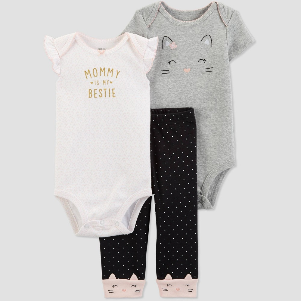 Baby Girls' 3pc Cat Top And Bottom Set - Just One You made by carter's Gray/White/Black 6M