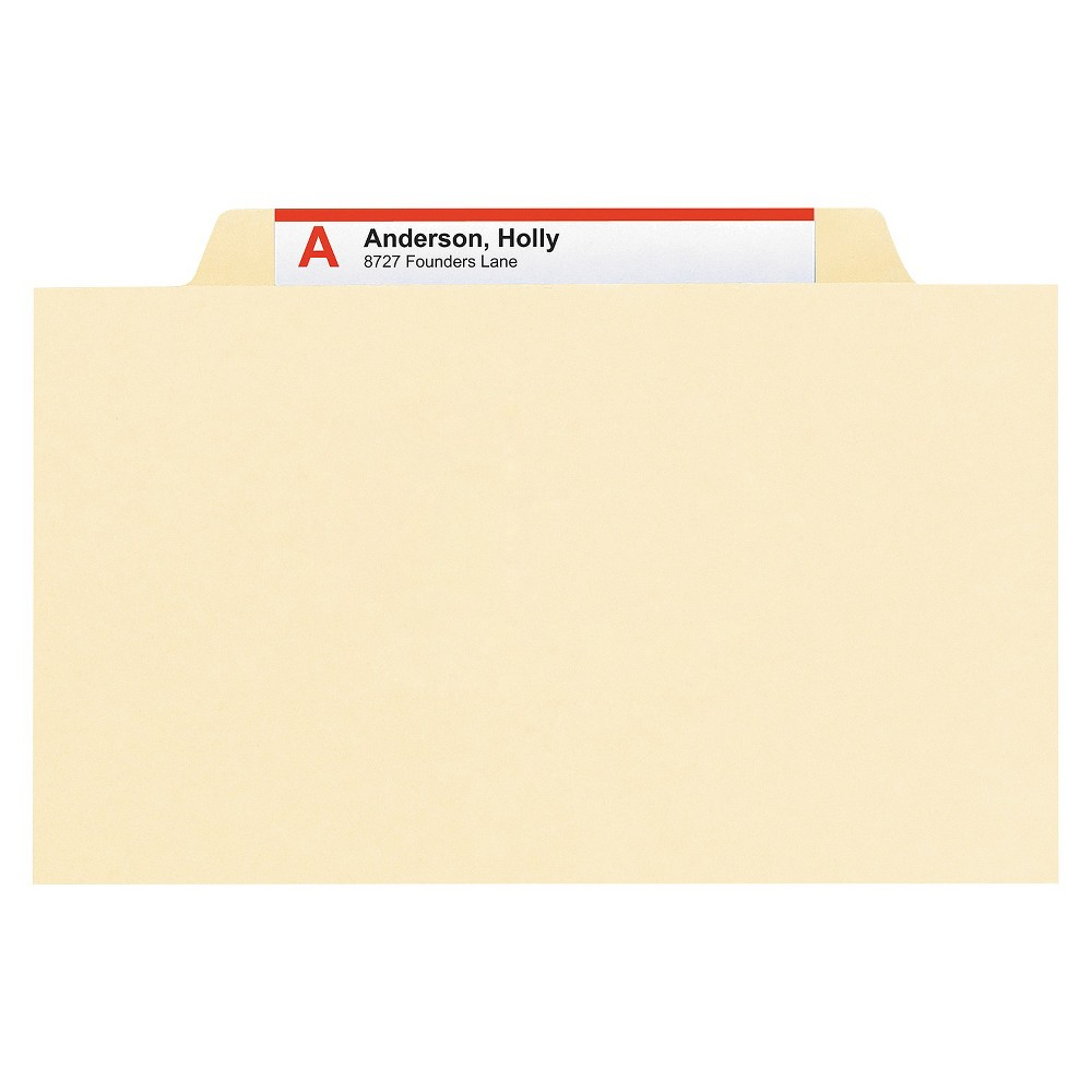 Smead Manila Classification Folders with 2/5 Right Tab, Letter, Four-Section, 10/Box, Beige