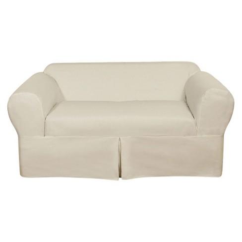 White Wrap Loveseat Slipcover 2 Piece