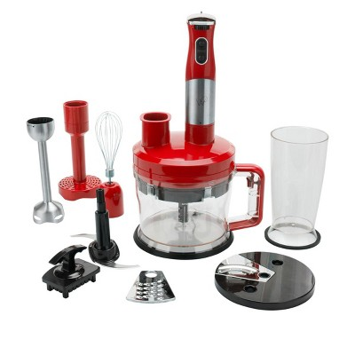 Wolfgang Puck 7-in-1 Immersion Blender with 12-Cup Food Processor Model 649-012 Red