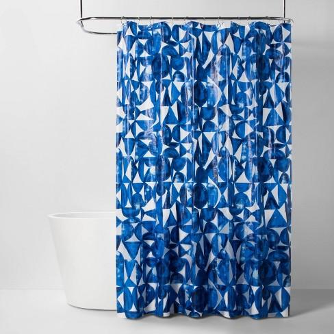 PEVA Shower Curtain Geometric Blue - Room Essentials™ - image 1 of 2