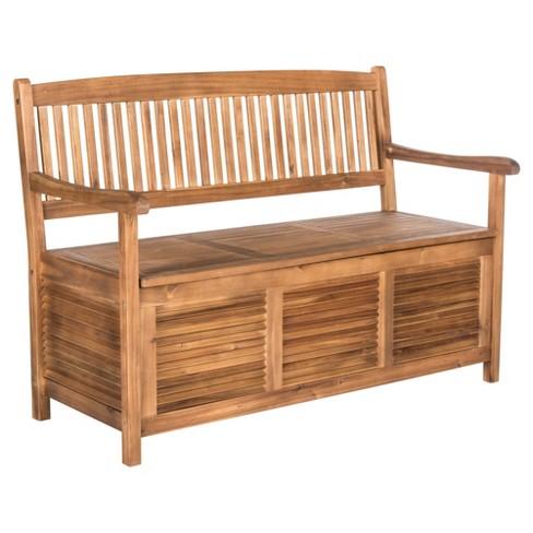Phenomenal Brisbane Storage Bench Teak Safavieh Machost Co Dining Chair Design Ideas Machostcouk