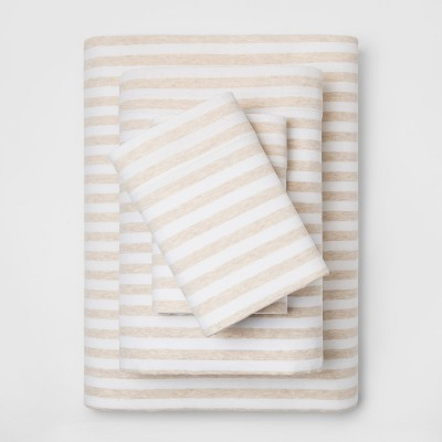 Queen Cozy Brushed Striped Jersey Sheet Set Oatmeal/White - Threshold™