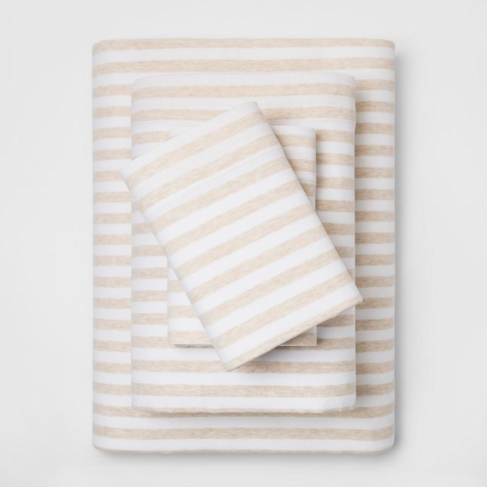 Full Stripe Cosy Jersey Sheet Set Oatmeal/White - Threshold