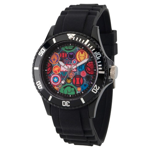 Men's Marvel® Classic Marvel® Icons Plastic Watch - Black - image 1 of 2