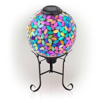 "Alpine 11"" Solar Mosaic Iron/Glass Gazing Globe with Stand Purple"