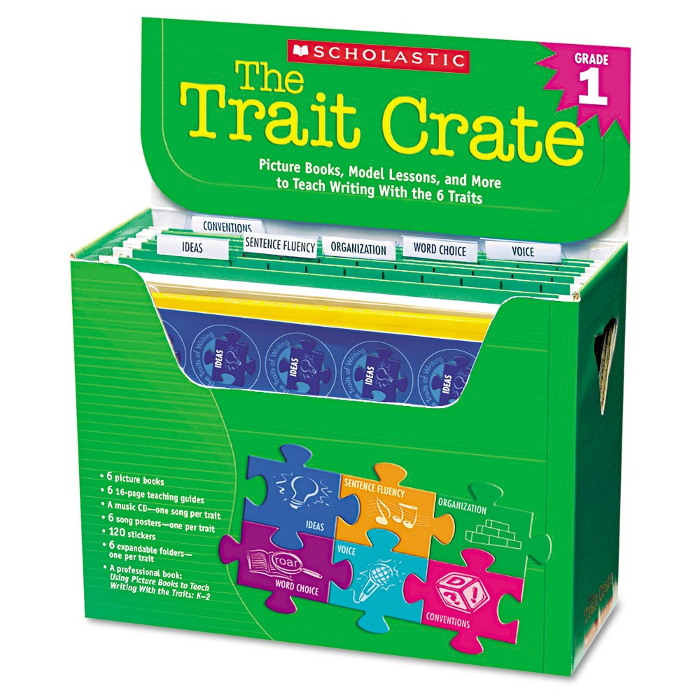 Scholastic Trait Crate, Grade 1, Six Books, Learning Guide, CD, More, Green