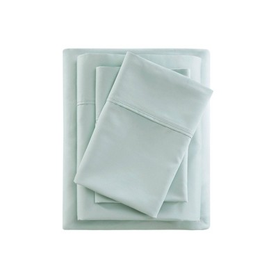 Queen 600 Thread Count Cooling Cotton Rich Sheet Set Seafoam