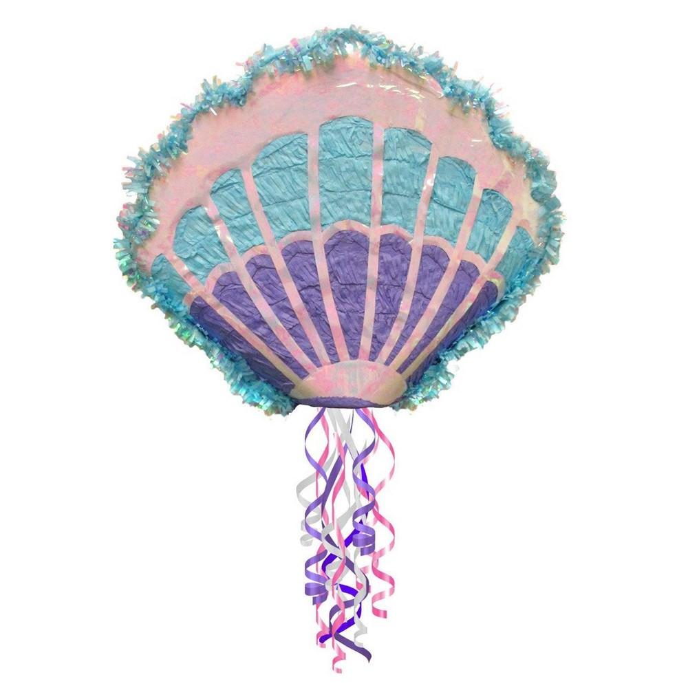Mermaid Sea Shell Pull String Pinata, Multi-Colored