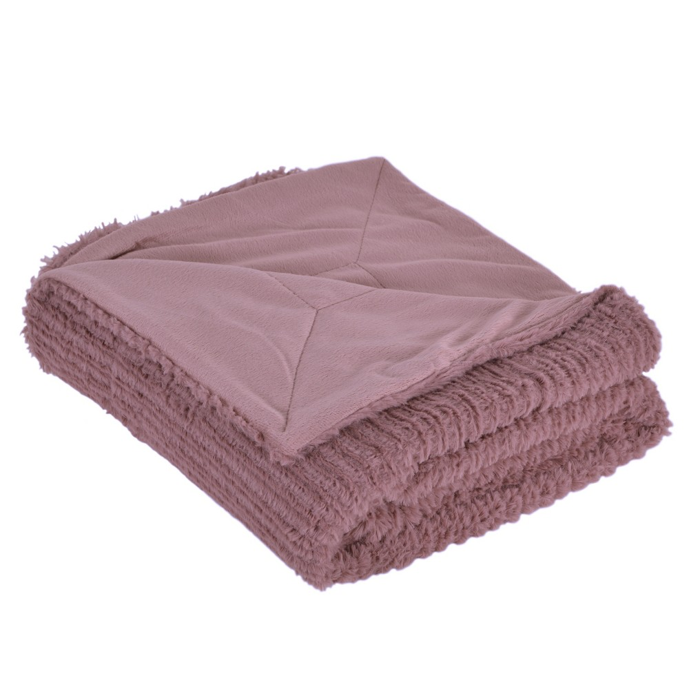 Image of Barnes Faux Throw Blanket Rose (Pink) - Décor Therapy