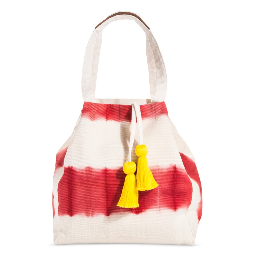 Image of Dip Dye Tote - Coral (Pink) & Yellow Tassels - Accompany, Women's
