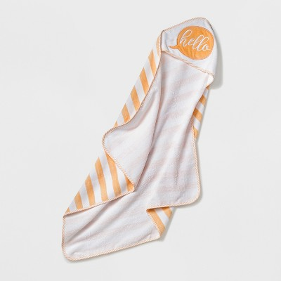 Baby  Hello  Embrd Hooded Towel - Cloud Island™ White/Orange