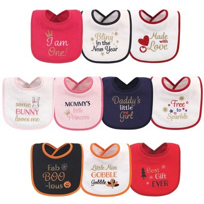 Hudson Baby Infant Girl Cotton Terry Drooler Bibs with Fiber Filling 10pk, Holiday Girl I Am One, One Size