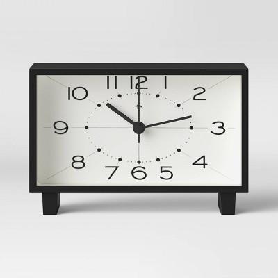 "6"" Rectangle Mantel Clock Black - Threshold™"