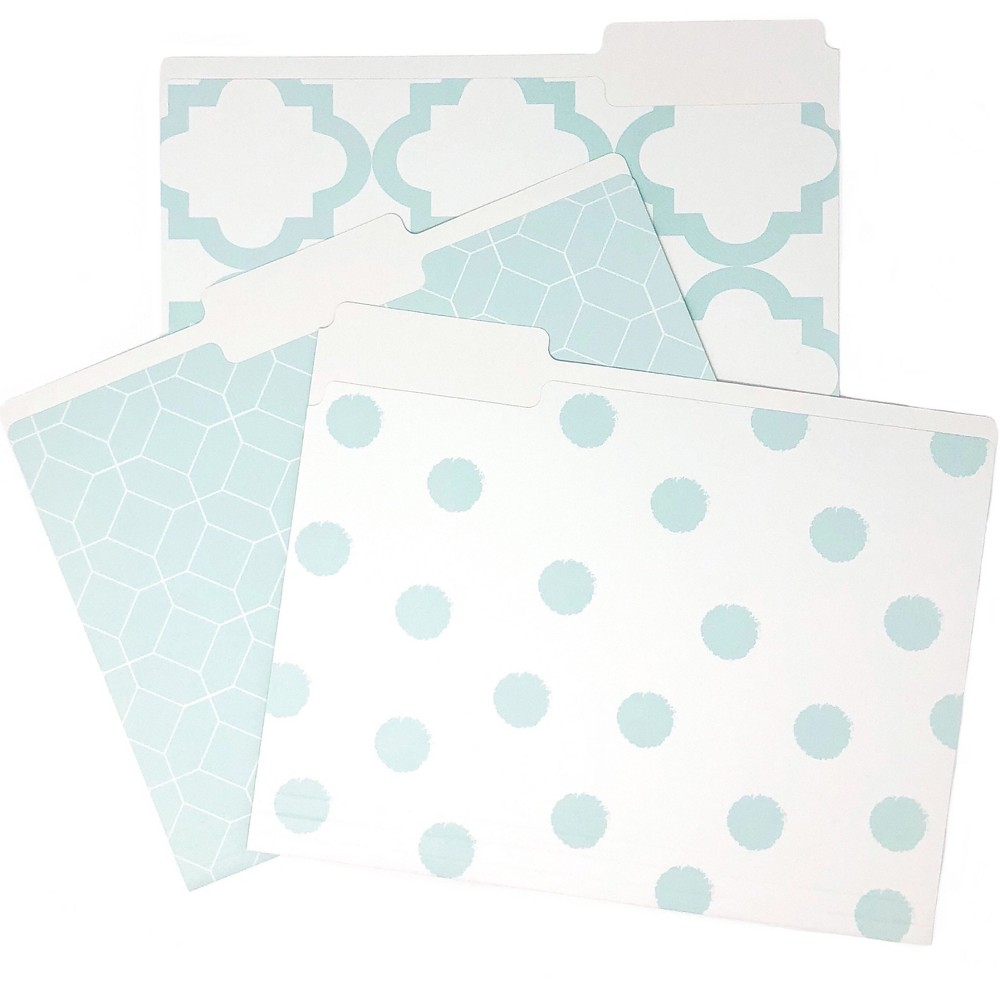 Image of 9ct File Folders Teal Assorted Patterns - Kahootie Co, Blue